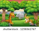 cartoon wild animal enjoying in ... | Shutterstock .eps vector #1258361767