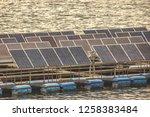 floating solar panels in the...   Shutterstock . vector #1258383484