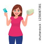 attractive happy young woman...   Shutterstock .eps vector #1258387381