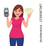 young woman showing pos...   Shutterstock .eps vector #1258387387