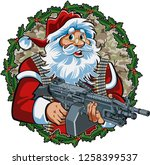 Santa Claus Holding Light M249...