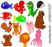 vector illustration  animals ... | Shutterstock .eps vector #1258412107