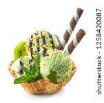 green ice cream in waffle...   Shutterstock . vector #1258420087