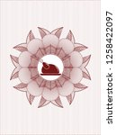 red passport style rosette with ... | Shutterstock .eps vector #1258422097