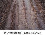 traces of wheeled vehicles used ... | Shutterstock . vector #1258431424