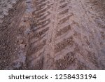 close up traces of wheeled... | Shutterstock . vector #1258433194