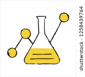 hand drawn flask chemical...   Shutterstock .eps vector #1258439764