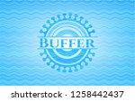 buffer light blue water emblem. | Shutterstock .eps vector #1258442437