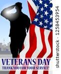 veteran's day holiday banner.... | Shutterstock .eps vector #1258453954