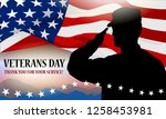 veteran's day holiday banner.... | Shutterstock .eps vector #1258453981