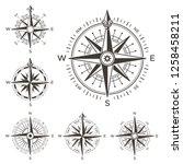 retro nautical compass. vintage ... | Shutterstock . vector #1258458211