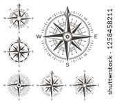 retro nautical compass. vintage ... | Shutterstock . vector #1258458211