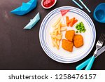 small kid's meal    fried fish  ... | Shutterstock . vector #1258476157