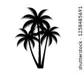 palm tree silhouette vector... | Shutterstock .eps vector #1258485691