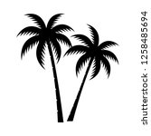 palm tree silhouette vector... | Shutterstock .eps vector #1258485694