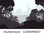 2d illustration. trees in the... | Shutterstock . vector #1258490467