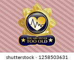 gold badge with heart with... | Shutterstock .eps vector #1258503631
