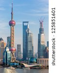 oriental pearl tower and... | Shutterstock . vector #125851601