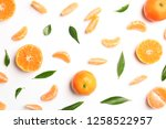composition with tangerines and ... | Shutterstock . vector #1258522957