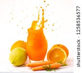 fresh citrus and carrot juice...   Shutterstock . vector #1258536577