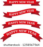 happy new year red ribbon... | Shutterstock .eps vector #1258567564