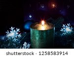 advent wreath in candles with... | Shutterstock . vector #1258583914