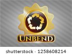 gold emblem with recycle icon... | Shutterstock .eps vector #1258608214