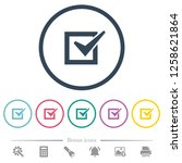 checked box flat color icons in ...   Shutterstock .eps vector #1258621864