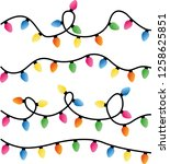 string of christmas lights... | Shutterstock .eps vector #1258625851