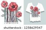 stylish print on t shirt.... | Shutterstock . vector #1258629547