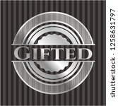 gifted silvery shiny badge   Shutterstock .eps vector #1258631797