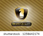 golden badge with chess knight ...   Shutterstock .eps vector #1258642174