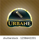 shiny badge with pencil icon...   Shutterstock .eps vector #1258642201