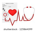 heart and a stethoscope with... | Shutterstock . vector #125864399