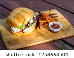 grilled plant based burger... | Shutterstock . vector #1258663504