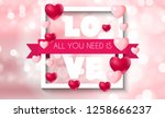 valentine's day heart  love and ... | Shutterstock .eps vector #1258666237