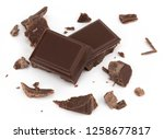 milk chocolate pieces isolated... | Shutterstock . vector #1258677817