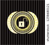 open lock icon inside gold...   Shutterstock .eps vector #1258680121