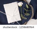 navy blue wedding invitation...   Shutterstock . vector #1258680964