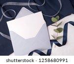 navy blue wedding invitation...   Shutterstock . vector #1258680991