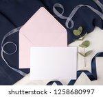 navy blue wedding invitation...   Shutterstock . vector #1258680997
