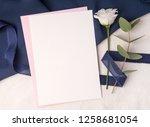 navy blue wedding invitation...   Shutterstock . vector #1258681054