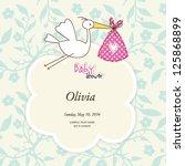 baby girl shower card cute... | Shutterstock .eps vector #125868899