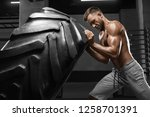 muscular man working out in gym ... | Shutterstock . vector #1258701391