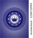 queen crown icon inside badge...   Shutterstock .eps vector #1258710994
