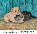 Stock photo oil painting on canvas friendship of kitten and puppy hand drawn illustration of little fluffy 1258711327