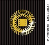 film icon inside gold badge or...   Shutterstock .eps vector #1258728664
