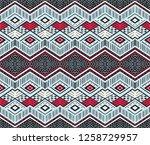 ikat geometric folklore... | Shutterstock .eps vector #1258729957