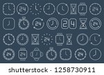 white clock icons isolated on...