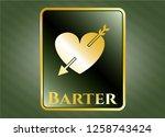 golden badge with heart with...   Shutterstock .eps vector #1258743424